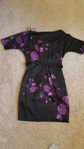 Le Chateau black dress with purple flowers XS London Ontario image 1