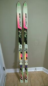 170 cm Fisher racing skis with poles
