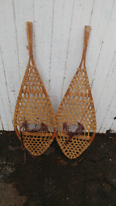 vintage snow shoes leather binding