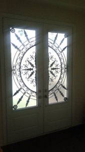 Stained Glass & Wrought Iron Front Door Inserts