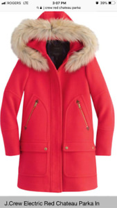 jCrew chateau parka - red- size 12, new condition