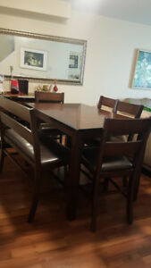 Dining room table, 4 chair and a bench for sale