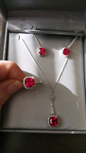 Silver and ruby earring necklace and ring set