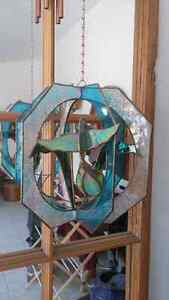 2 Hummingbird Stained glass hangers