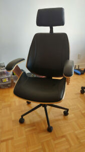 Structube Cove Black Leather Walnut Office Chair