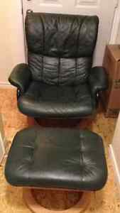 Leather Reclining Chair + Ottoman