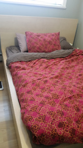 IKEA Queen MALM frame/4 storage boxes and IKEA Natural Mattress