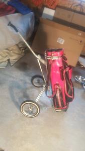 Older vinyl golf bag and cart