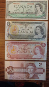 mint  1974 and 1954 dollar bills  1 and 2