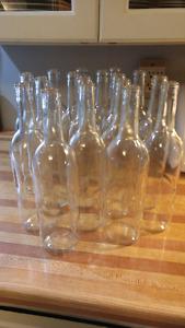 Clear wine bottles