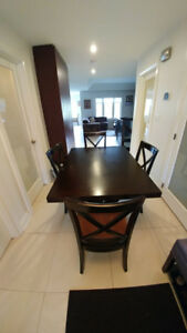 Wooden dining table & six chairs table is extendable,&