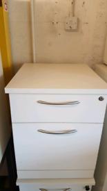 Lockable White Wood Effect 2 Drawer Office Under Desk Pedestals 10 lef