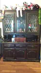 China cabinet and fireplace