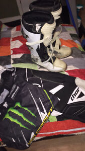 Dirt bike boots and pants