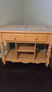 Beautiful solid wood with ceramic top breakfast cart St. John's Newfoundland image 1