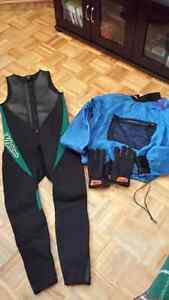 Wet Suit, Dry Jacket and Neoprene gloves
