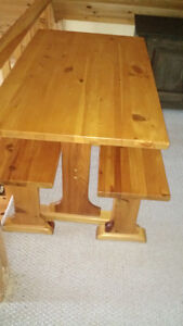 PINE TRESEL TABLE WITH BENCHES Kingston Kingston Area image 2