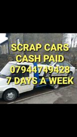 WANTED SCRAP CARS VANS TELEPHONE 07944749428
