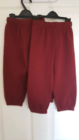 2x pairs maroon/burgundy fleece jogging bottoms age 2-3 years