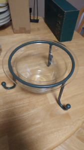 Ornamental Glass Bowl & Metal Stand