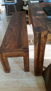 Large Solid Sheesham Wood Dining / Work Table and Bench