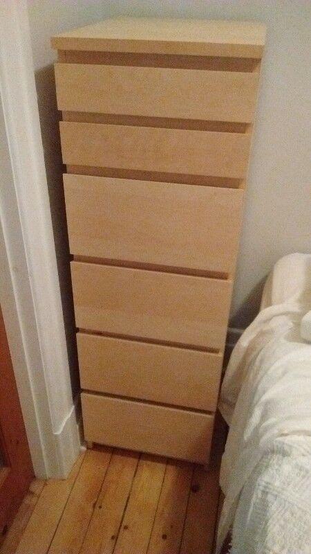 IKEA MALM Commode 6 tiroirs plaqué bouleau avec miroir | Commodes et ...