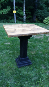 Pub table made from reclaimed barn wood
