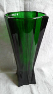 Vintage Anchor Hocking Atomic Rocket Forest Green Tall Vase