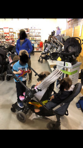 Baby jogger stroller. Can be used as a single double or triple