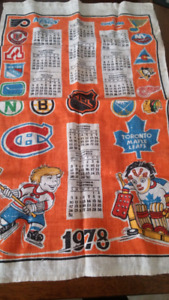 Old hockey 1978 calender fabric
