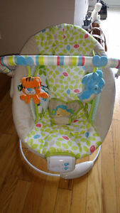 Baby bouncy chair sings vibrates