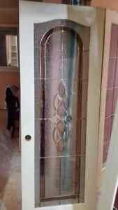 """Solid 28"""" Stained Glass Wood Door"""