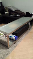 Stainless Steel TV table - tempered glass - like new! Modern!