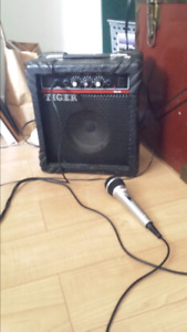 Microphone, small amp/speaker and mic stand