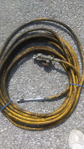 well used yellow air line hose for Tractor Trailer-pumps tires