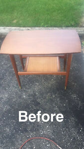 Refinished solid wood table with second tier woven centre piece.