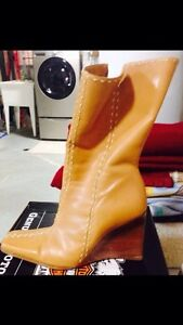 Leather tan wedge heeled boots