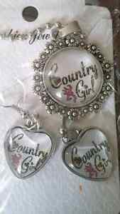 Country Girl Necklace and Earring Set, 5.00.