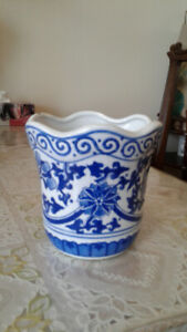 Vintage hand crafted blue and white porcelain flower pot