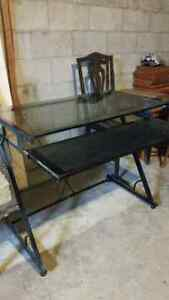 BACK GLASS TOP DESK WITH KEYBOARD PULLOUT
