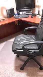 Computer corner desk leather office chair and carpet protection