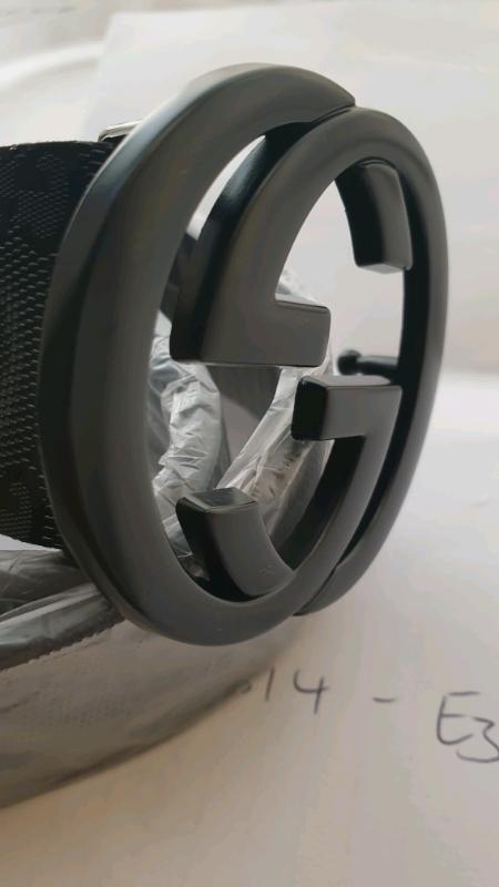 a9737595e GUCCI interlocking matte black G buckle leather belt (not, lv, prada ...