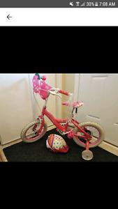 """14"""" Huffy Mini Mouse Bike and Barbie helmet"""