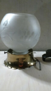 Vintage etched frosted glass globe
