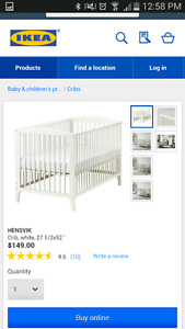 White IKEA crib (and toddler bed)  with Ikea mattress