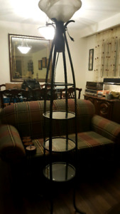 Floor lamp with glass shelves