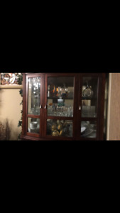 Wooden hutch buffet and dining table set
