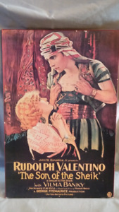 Vintage Rudolph Valentino Son of the Sheik Wooden Wall Art