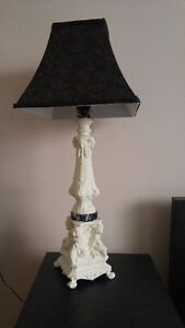antique table lamp with cherubs / brass with marble base