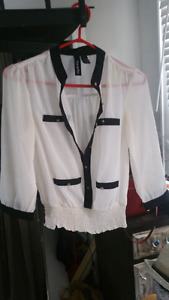Black white ruched blouse